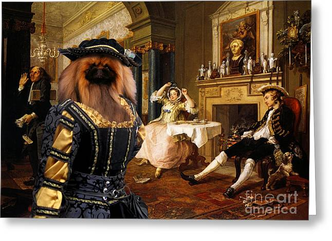 Pekingese Art Canvas Print Greeting Card by Sandra Sij