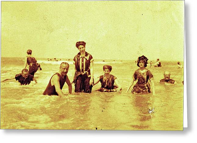 People At Sea North Sea, The Netherlands Or Germany Greeting Card