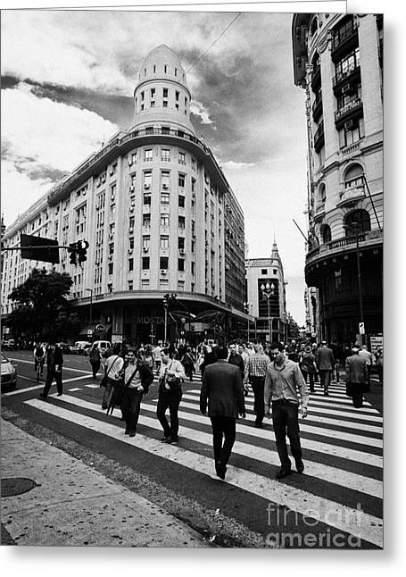people crossing calle florida Edificio Bencich and south end of florida street downtown Buenos Aires Greeting Card