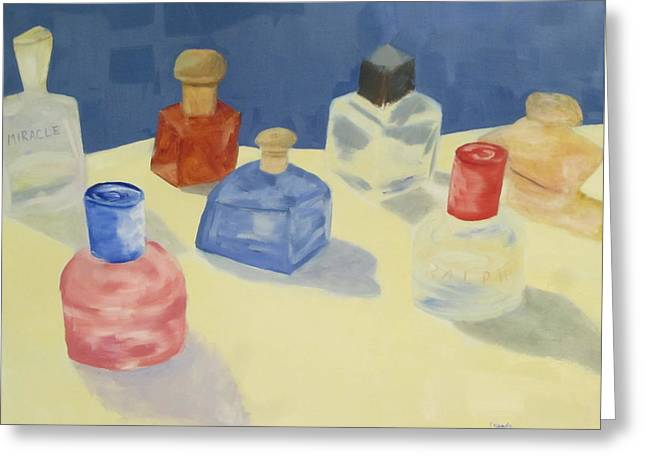 Perfume Bottles Greeting Card by Patricia Cleasby