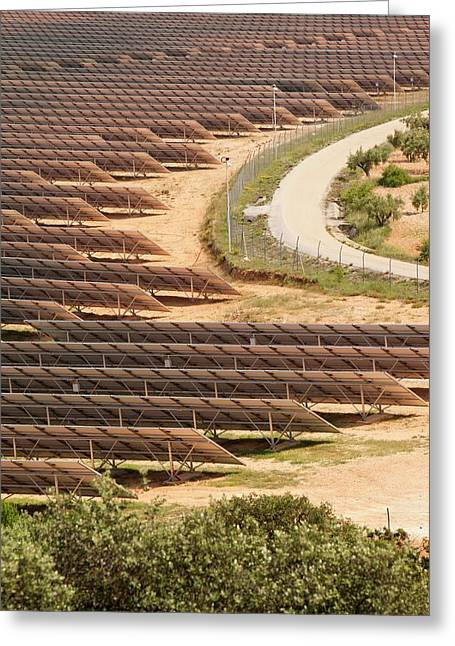 Photovoltaic Panels At Beneixama Greeting Card by Ashley Cooper