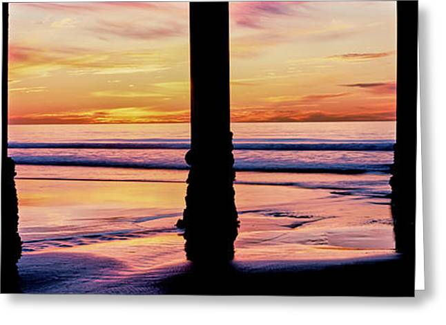 Pier On Beach At Sunset, La Jolla, San Greeting Card by Panoramic Images
