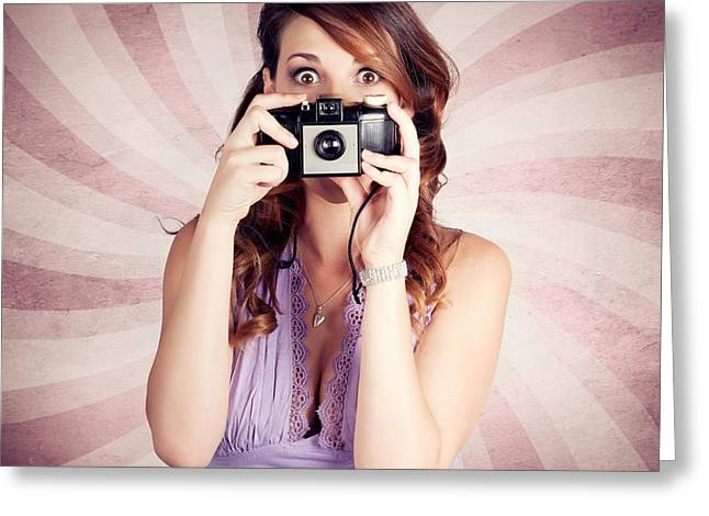 Pin-up Photographer Girl Taking Surprise Photo Greeting Card by Jorgo Photography - Wall Art Gallery