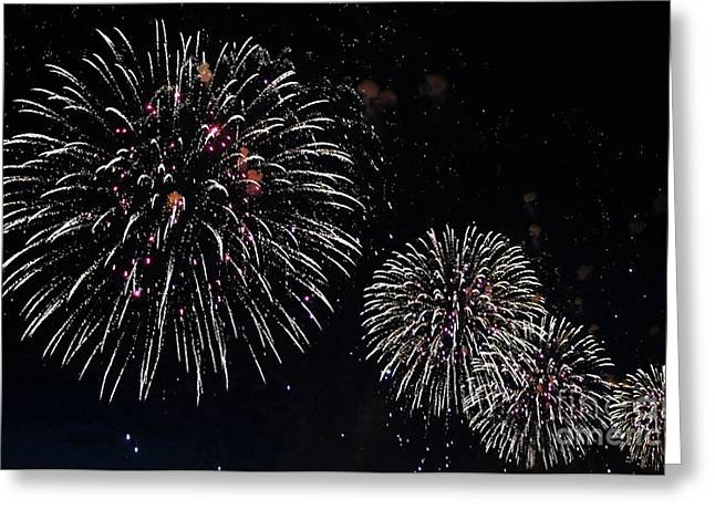 Greeting Card featuring the photograph Pink Fireworks by Lilliana Mendez