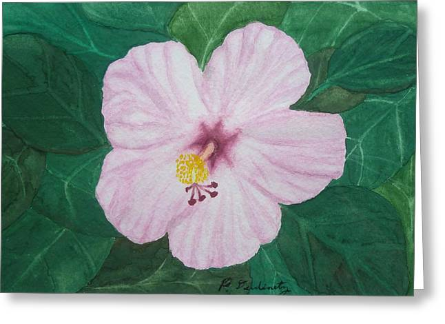 Pink Hibiscus Greeting Card by Patty Dopkin