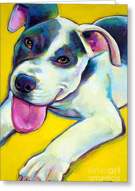 Greeting Card featuring the painting Pit Bull Puppy by Robert Phelps