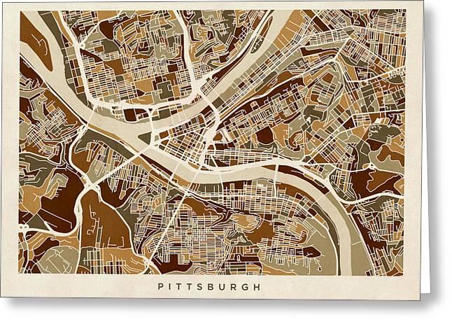 Pittsburgh Pennsylvania Street Map Greeting Card by Michael Tompsett