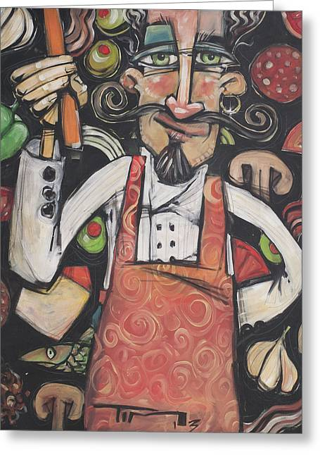Pizza Chef Greeting Card by Tim Nyberg