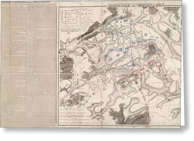 Plan Of The Battle Of Waterloo Greeting Card