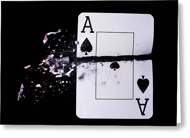 Playing Card Trick Shot Greeting Card by Herra Kuulapaa � Precires