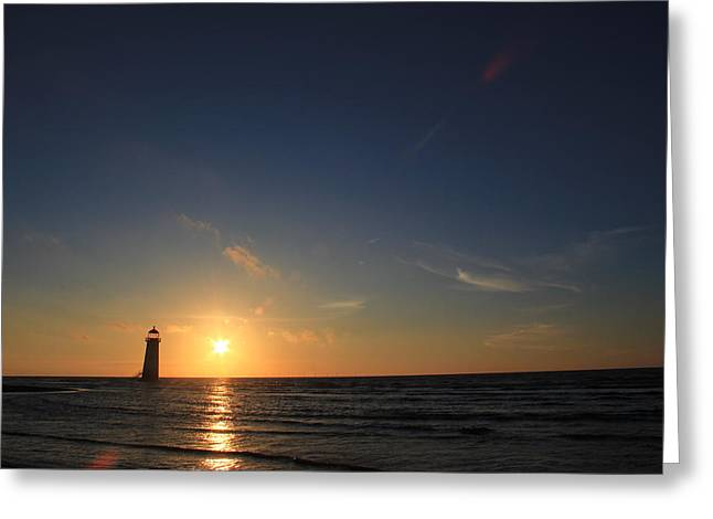 Point Of Ayr Lighthouse At Sunset Greeting Card by Turnip Towers