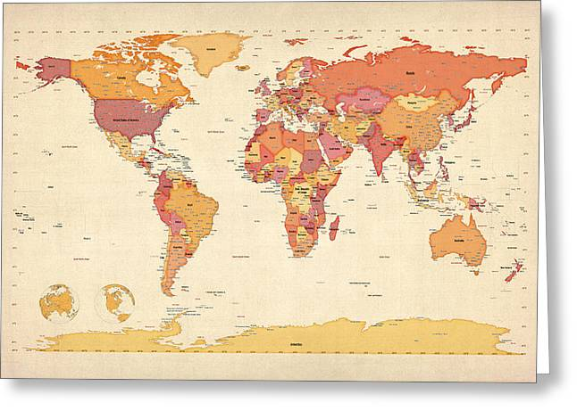 Political Map Of The World Map Greeting Card