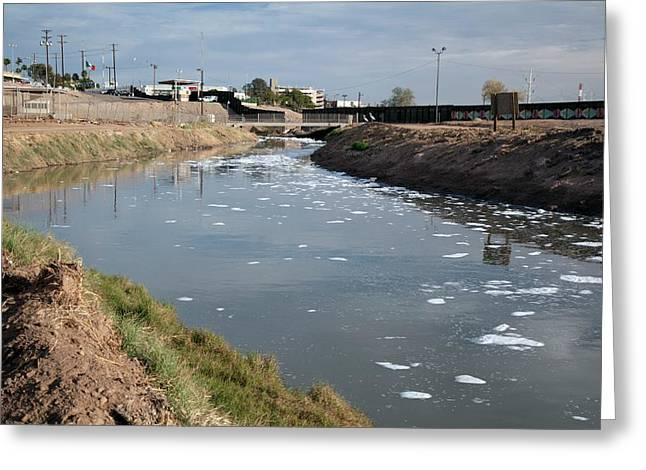 Polluted River Greeting Card by Jim West