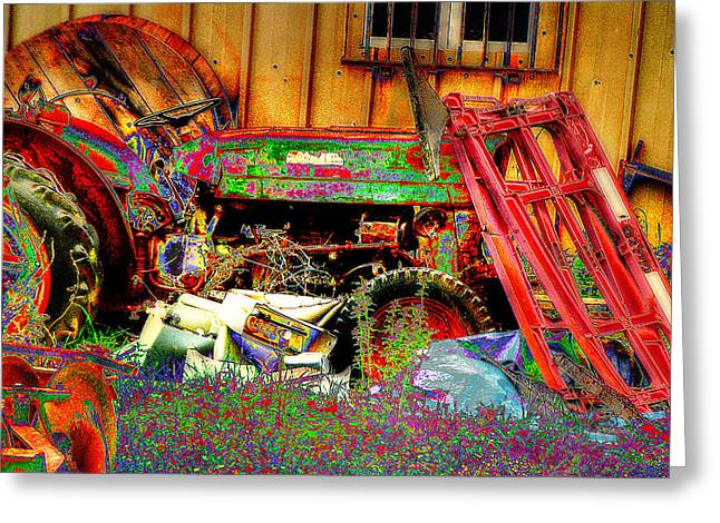 Pop Art Tractor Greeting Card by Doc Braham