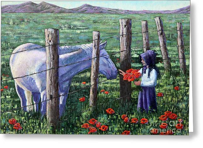 Poppies For Ma Greeting Card by Carolyn Kollegger