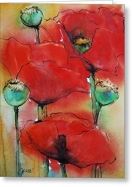 Poppies I Greeting Card by Jani Freimann