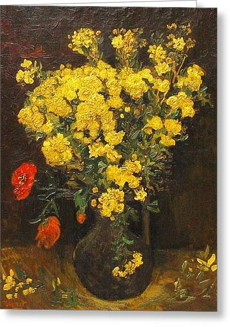 Poppy flowers also vase with viscaria digital art by vincent van gogh poppy flowers also vase with viscaria greeting card by vincent van gogh mightylinksfo