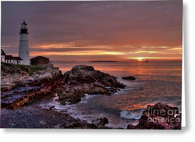 Portland Head Lighthouse Sunrise Greeting Card by Alana Ranney