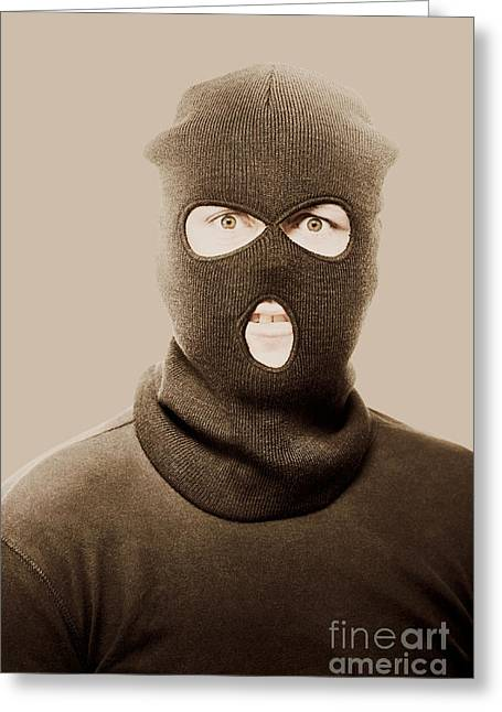 Portrait Of A Vintage Terrorist Greeting Card by Jorgo Photography - Wall Art Gallery