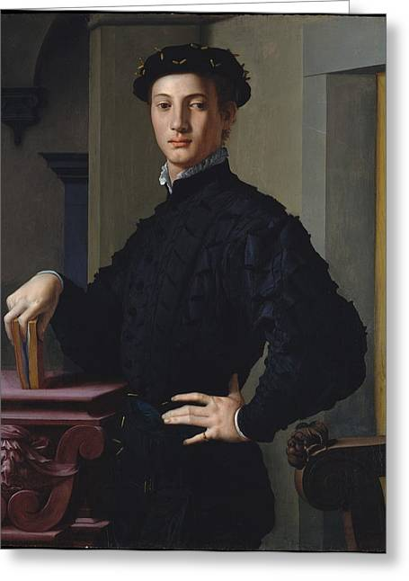 Portrait Of A Young Man Greeting Card by Bronzino