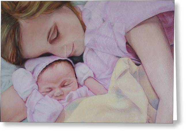 Portrait Of A Young Mother Greeting Card