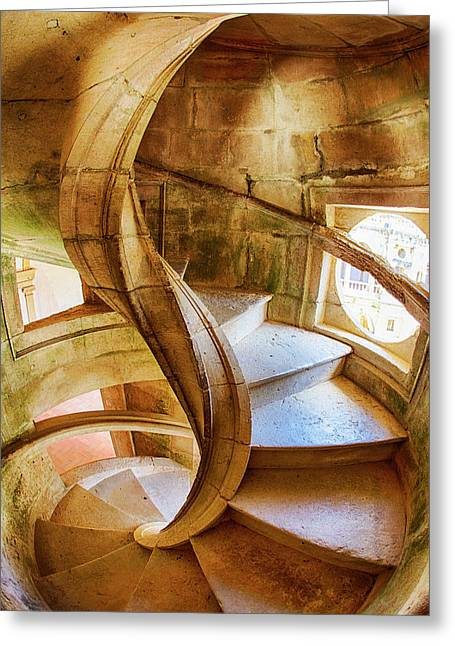 Portugal, Tomar, Spiral Stone Staircase Greeting Card by Terry Eggers