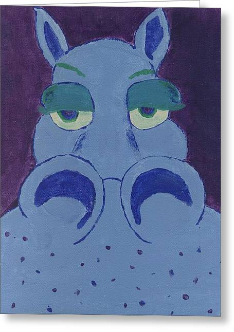 Greeting Card featuring the painting Potamus by Yshua The Painter
