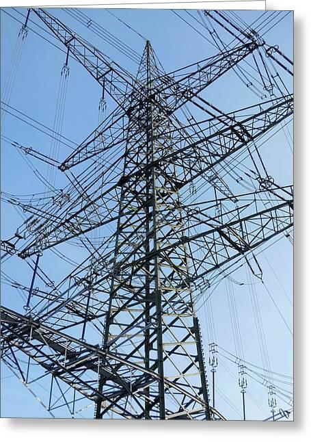 Power Lines Greeting Card by Detlev Van Ravenswaay