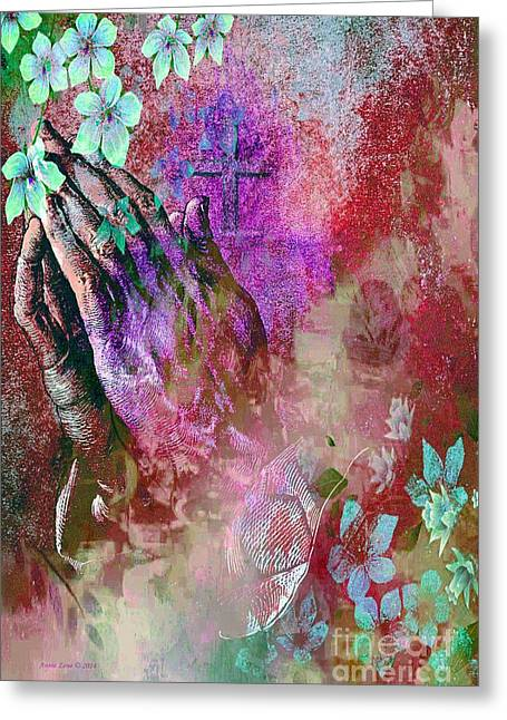Praying Hands Flowers And Cross Greeting Card