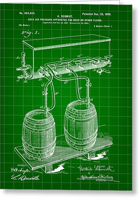 Pressure Apparatus For Beer Patent 1897 - Green Greeting Card by Stephen Younts