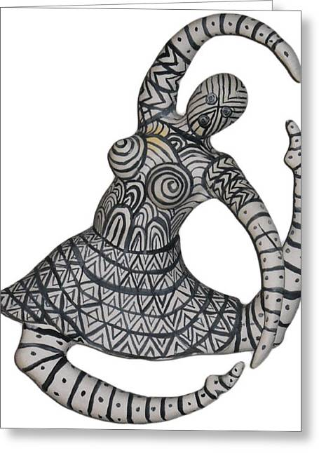Greeting Card featuring the sculpture Primal Dancer by Kristen R Kennedy