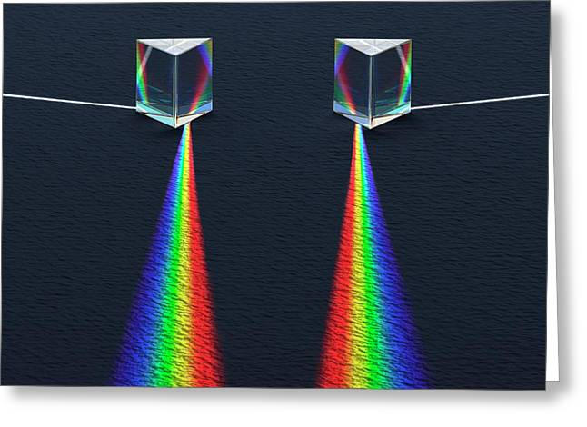 2 Prisms And Refracted Spectra Greeting Card by David Parker