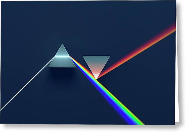 2 Prisms In Newtonian Arrangement Greeting Card by David Parker