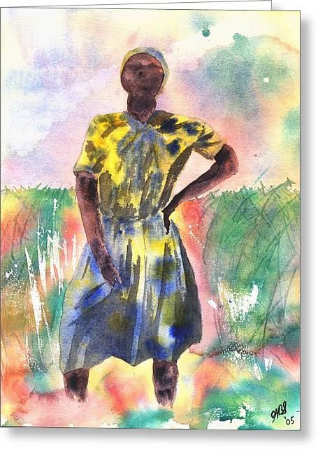 Proud Lady Greeting Card by Joyce Ann Burton-Sousa