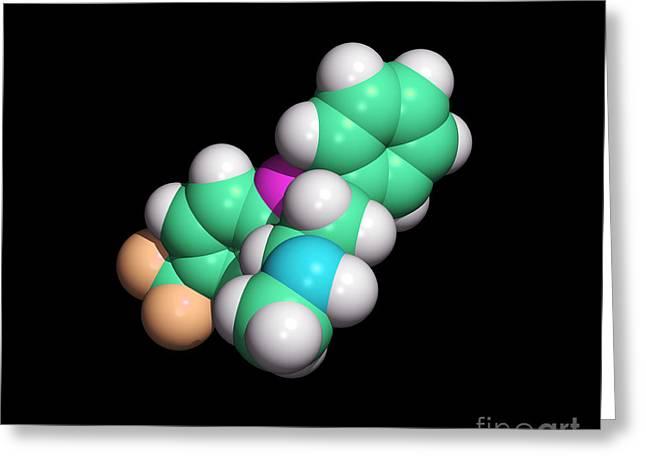 Prozac Antidepressant Drug Molecule Greeting Card by Dr. Tim Evans