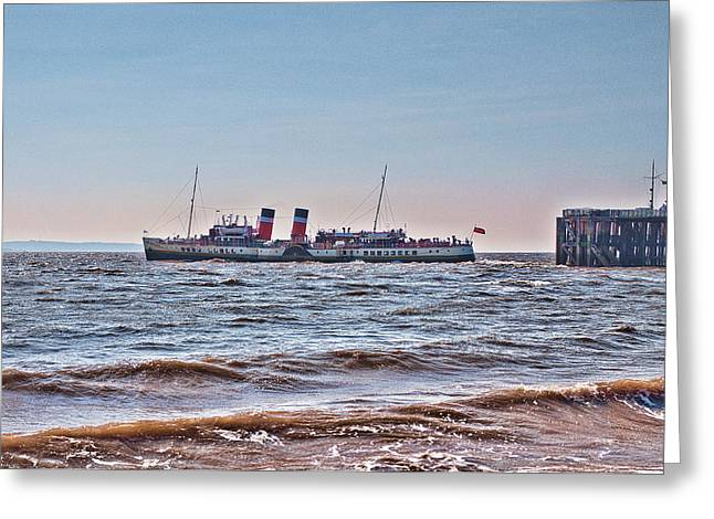 Ps Waverley Leaves Penarth Pier Greeting Card by Steve Purnell