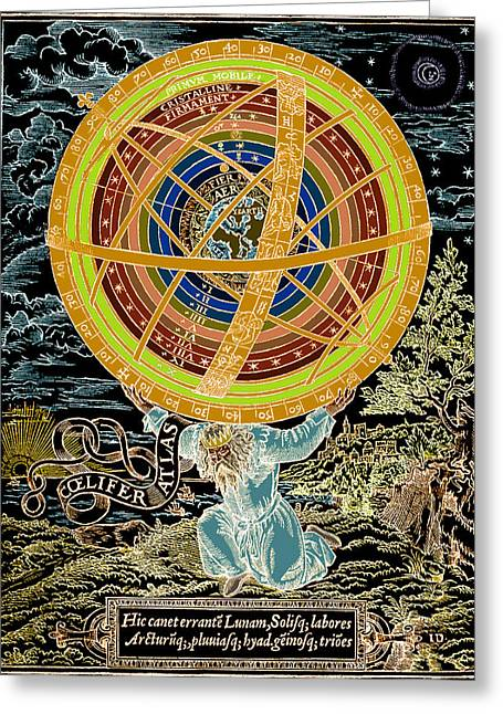 Ptolemaic System, Geocentric Model, 1531 Greeting Card by Science Source