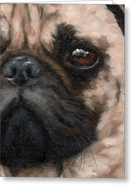 Pug Portrait Painting Greeting Card by Rachel Stribbling