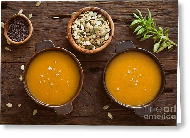 Pumpkin Soup Greeting Card by Mythja  Photography