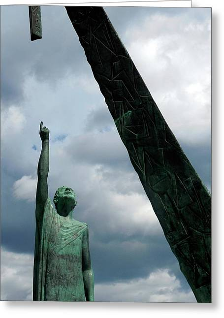 Pythagoras Monument Greeting Card by Detlev Van Ravenswaay