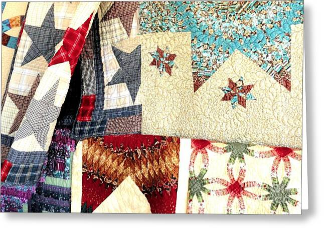 Greeting Card featuring the photograph Quilts For Sale by Janette Boyd