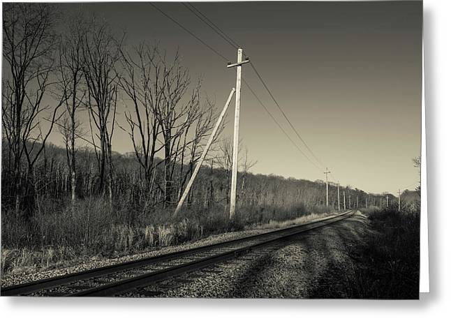 Railroad Track Passing Greeting Card