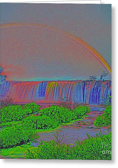 Rainbow Over The Waterfall  Greeting Card