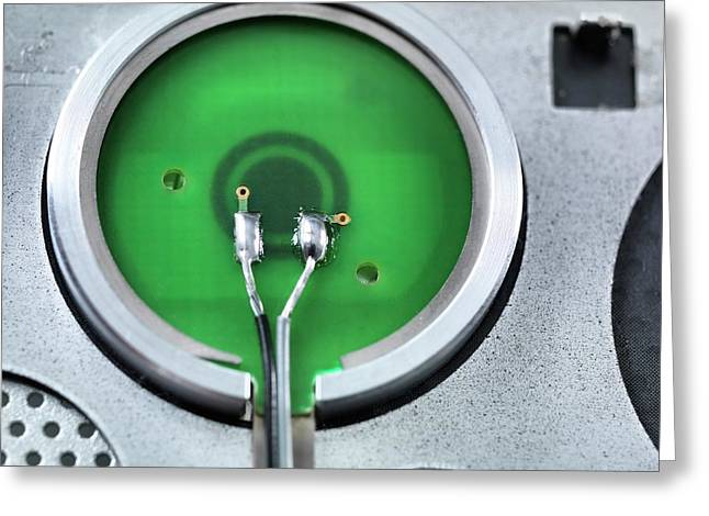 Rear Of A Power Button Greeting Card by Tek Image