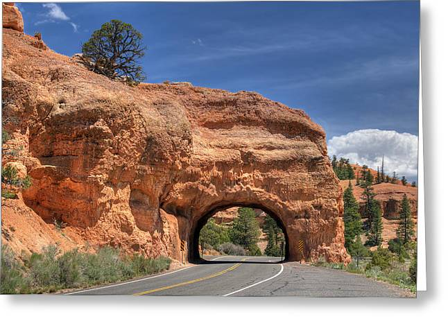 Red Canyon National Park Utah Road Tunnel  Greeting Card