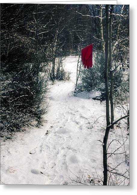 Red Glove Greeting Card by Joana Kruse