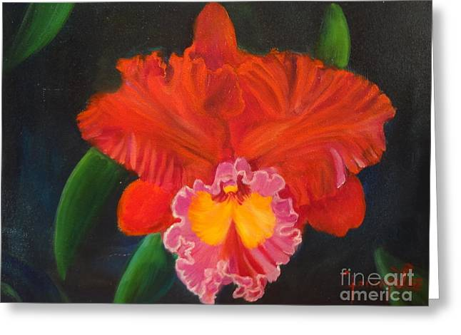 Greeting Card featuring the painting Red Orchid by Jenny Lee