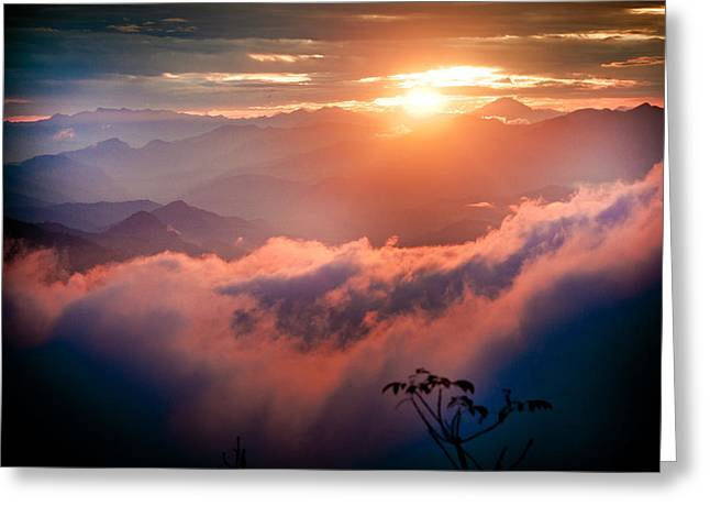 Red Sunset Himalayas Mountain Nepal Greeting Card