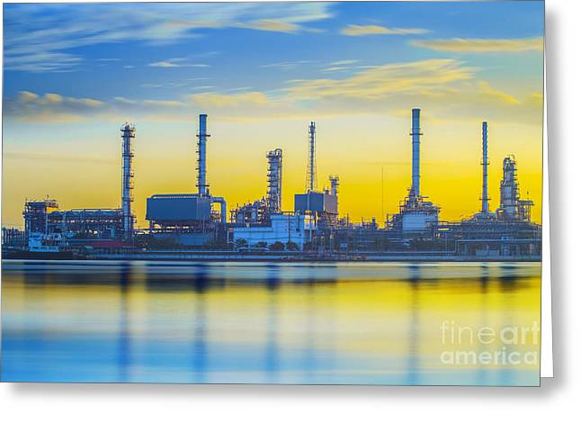 Refinery Industrial Plant Greeting Card by Anek Suwannaphoom