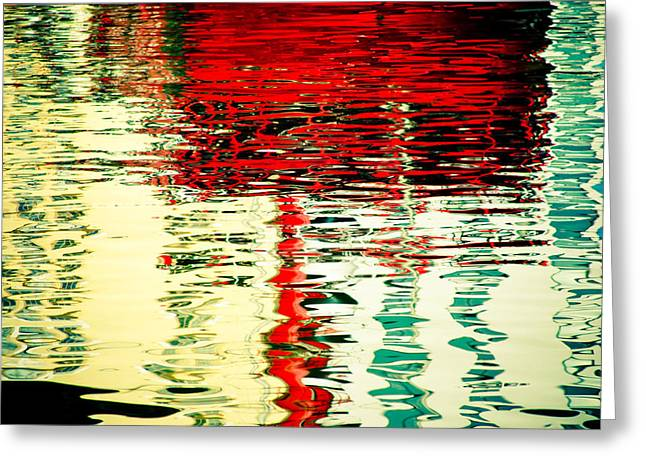 Reflection In Water Of Red Boat Greeting Card